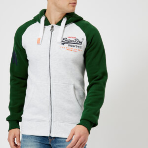 Superdry Men's Premium Goods Raglan Zip Hoody - Slam Green