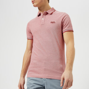 Superdry Men's Classic Poolside Short Sleeve Pique Polo Shirt - Red/White