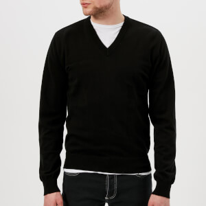 Maison Margiela Men's Elbow Patch V Neck Jumper - Black