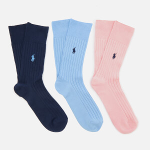 Polo Ralph Lauren Men's Egyptian Cotton Rib Crew 3 Pack Socks - Pink