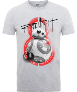 Star Wars Die letzten Jedi (The Last Jedi) BB8 Roll With IT Grau T-Shirt