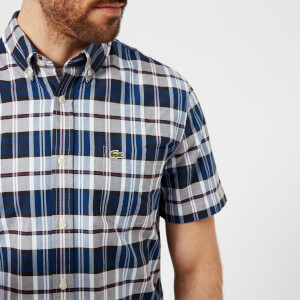 Lacoste Men's Short Sleeved Checked Shirt - Marine