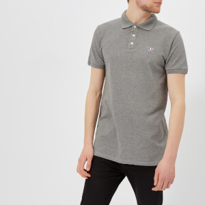 Maison Kitsuné Men's Tricolor Fox Patch Polo Shirt - Grey Melange