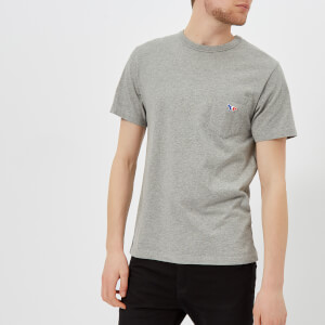 Maison Kitsuné Men's Tricolor Fox Patch T-Shirt - Grey Melange