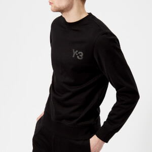 Y-3 Men's Crew Neck Logo Front Sweatshirt - Black