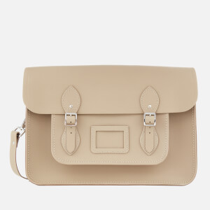 The Cambridge Satchel Company Women's 15 Inch Classic Satchel with Detachable Strap - Putty Saffiano