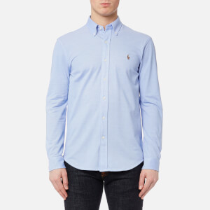 Polo Ralph Lauren Men's Long Sleeve Oxford Pique Shirt - Harbor Island Blue/White