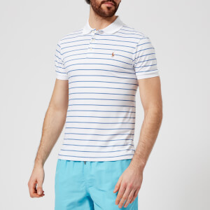 Polo Ralph Lauren Men's Slim Fit Stripe Pima Polo Shirt - White/City Blue