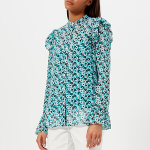 MICHAEL MICHAEL KORS Women's Carnation Ruffle Top - Tile Blue/Black Multi