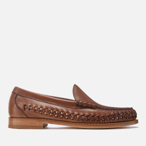 Bass Weejuns Men's Venetian Weave Leather Slip On Shoes - Mid Brown