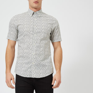 Michael Kors Men's Slim Fit Floral Print Short Sleeve Shirt - Fatigue