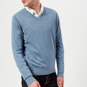 Michael Kors Men's Sleek Cotton Emb. Mk V Neck Long Sleeve Sweater - Wave Melange