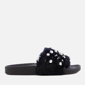 Steve Madden Women's Yeah Faux Fur Slide Sandals - Black