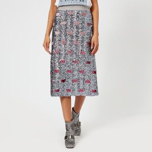 Coach 1941 Women's Long Embellished Skirt - Pink/Silver