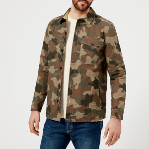Barbour Heritage Men's Camo Button Through Overshirt - Olive