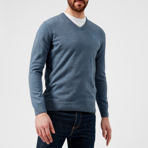 Barbour Men's Pima Cotton V-Neck Knitted Jumper - Dark Chambray