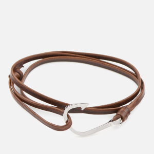 Miansai Men's Leather Silver Hook Bracelet - Cafecito