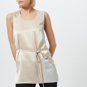 T by Alexander Wang Women's Heavy Drape Satin Top with Stripe Combo - Champagne/Stripe