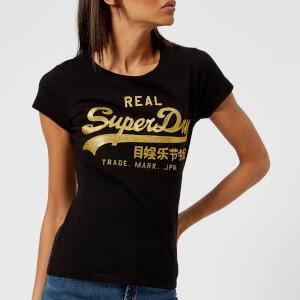 Superdry Women's Vlogo Emboss Glitter Entry T-Shirt - Black