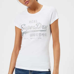 Superdry Women's Vlogo Emboss Glitter Entry T-Shirt - Optic