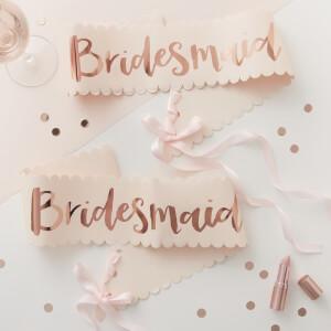 Ginger Ray Bridesmaid Sash - Pink/Rose Gold (2 Pack)