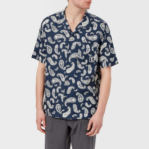 Wooyoungmi Men's Paisley Print 50s Collar Short Sleeve Shirt - Navy