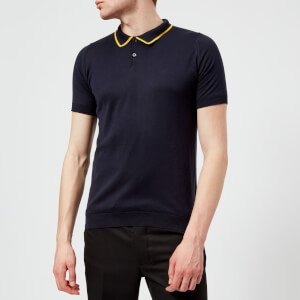 John Smedley Men's Klerk 30 Gauge Sea Island Cotton Polo Shirt - Navy/Taylors Yellow