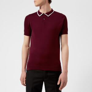 John Smedley Men's Klerk 30 Gauge Sea Island Cotton Polo Shirt - Burgundy Grain/White