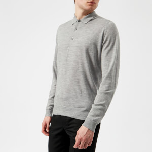 John Smedley Men's Belper 30 Gauge Merino Long Sleeve Polo Shirt - Silver