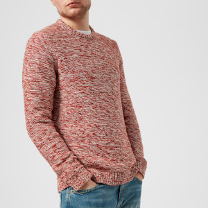Folk Men's Irregular Stripe Crew Neck Jumper - Desert Red/Ecru Mix