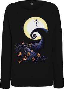 The Nightmare Before Christmas Jack Skellington Pumpkin King Colour Women's Black Sweatshirt