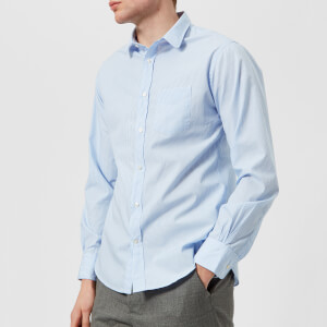 Officine Générale Men's Lipp Striped Cotton Shirt - Blue White