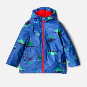 Joules Boys' Young Skipper Waterproof Coat - Blue Dino Paddle