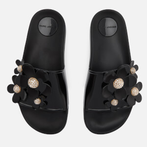 Marc Jacobs Women's Daisy Pave Aqua Slide Sandals - Black