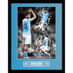 Manchester City Aguero Goalscorer Framed Photograph 12 x 16 Inch