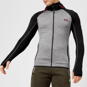 Superdry Sport Men's Athletic Raglan Zip Hoody - Mid Grey Grit-Black