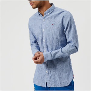 Tommy Jeans Men's Essential Seersucker Long Sleeve Shirt - Nautical Blue