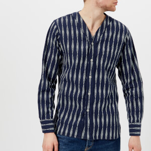 Universal Works Men's Congo Stripe V-Neck Shirt - Navy