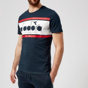 Diadora Men's Short Sleeve Spectra T-Shirt - Blue Denim/White/Red Salsa