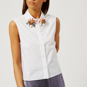 Christopher Kane Women's Embroidered Collar Poplin Shirt - White