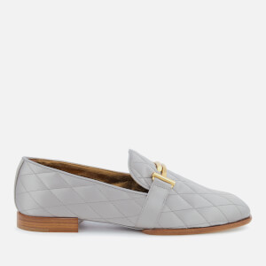 Tod's Women's Quilted Satin T Logo Slippers - Grey