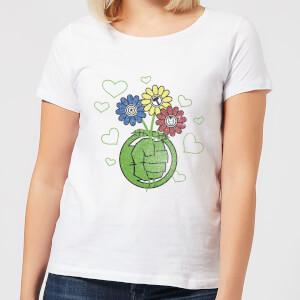 "Camiseta Marvel Vengadores ""Puño Hulk Flor"" - Mujer - Blanco"