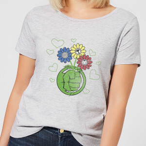 T-Shirt Marvel Avengers Hulk Flower Fist - Grigio - Donna
