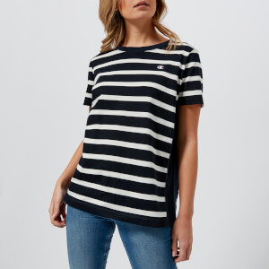 Champion Women's Logo Stripe Short Sleeve T-Shirt - Navy Stripe