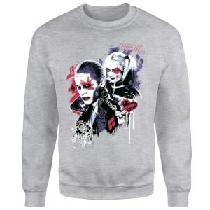Sweat Homme Harley Quinn et le Joker (DC Comics) - Gris