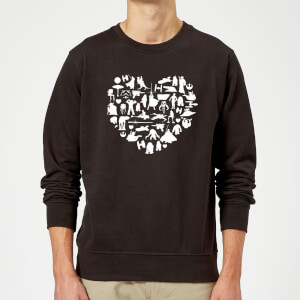 Star Wars Valentine's Heart Montage Sweatshirt - Black