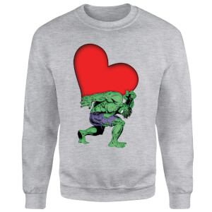 Sweat Homme Hulk Cœur (Marvel) - Gris