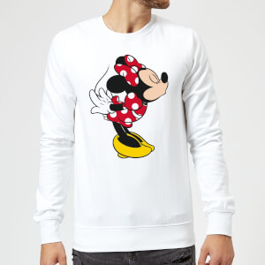 Disney Mickey Mouse Minnie Split Kiss Sweatshirt - White