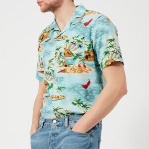 Levi's Men's Hawaiian Shirt - Pelican Cameo Blue