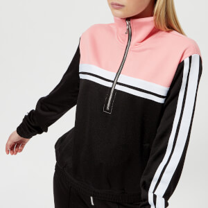 Juicy Couture Women's Stripe Tricot Half Zip Track Jacket - Pitch Black And Sorbet Pink